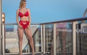 blonde, girl, balconies, looking away, high heels, red lingerie