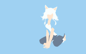 minimalism, Hanekawa Tsubasa, vector art, Sawarineko, white, blue