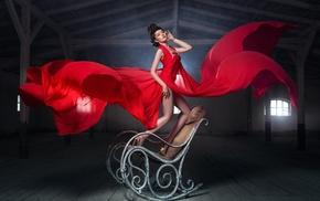 girl, chair, model, dress