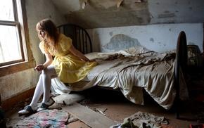 model, girl, ruin, bed