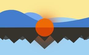 CGI, imagination, Sun, minimalism, nature, digital art