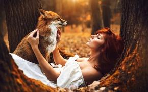 fall, nature, moss, fox, girl, depth of field