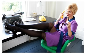 looking at viewer, blonde, office, black heels, blue eyes, glasses