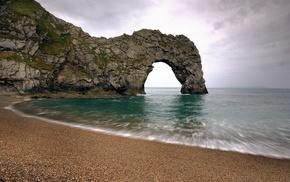 cliff, nature, long exposure, rock, beach, sea