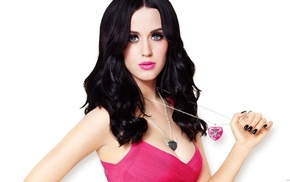 Katy Perry, girl, cleavage, simple background, brunette, singer