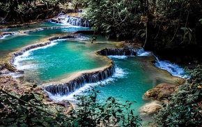 nature, foliage, landscape, waterfall, laos, pond