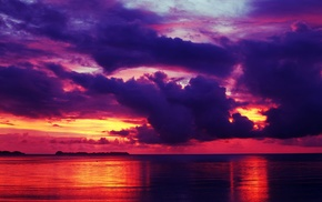 clouds, landscape, sea