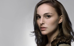 simple background, actress, closeup, brunette, Natalie Portman, face
