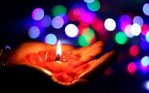 macro, bokeh, candles