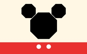 Mickey Mouse, minimalism, simple background, simple
