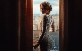 blonde, girl, Georgiy Chernyadyev, looking back, white dress, dress