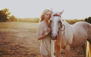 blonde, bracelets, horse, animals, field, girl outdoors