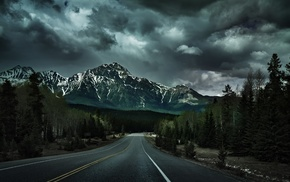 Canada, lines, nature, snowy peak, clouds, road sign