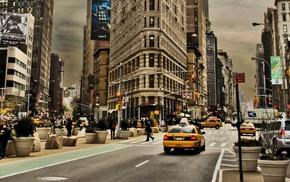 USA, street, clouds, road, New York City, car