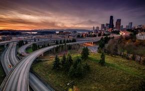 Seattle, cityscape, evening, city, sunset, road