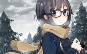 glasses, original characters, winter, anime girls, meganekko, scarf