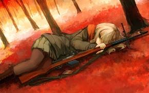 fall, rifles, anime, girl with guns, anime girls, SVT