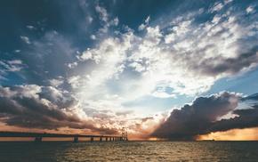 Denmark, landscape, sea, clouds, the great belt bridge