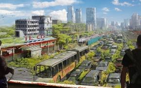 gun, apocalyptic, cityscape