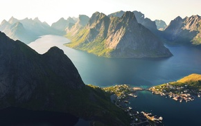 landscape, Lofoten Islands, sunlight, mountain, Norway, morning