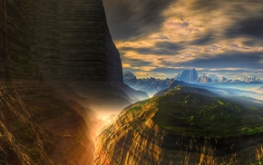 sunlight, canyon, erosion, mountain, atmosphere, sky
