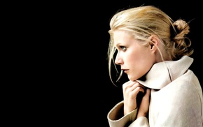 Gwyneth Paltrow, side view, girl, black background, actress, black