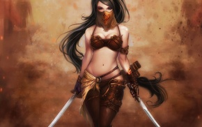 girl, warrior, fantasy art, sword