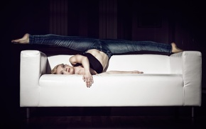 jeans, dancers, girl, model, couch