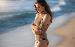 girl outdoors, beach, model