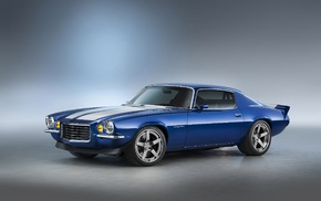 blue cars, Chevrolet Camaro RS, vehicle, car