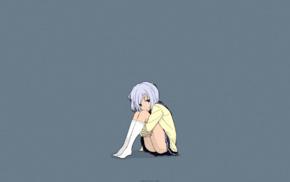 white hair, Karasuma Wataru, socks, school uniform, Amamiya Kyouka, short skirt