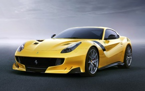 car, vehicle, yellow cars, Ferrari F12 TDF