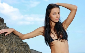 brunette, Anna Sbitnaya, brown eyes, bikini, long hair, girl