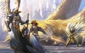 wings, fantasy art, dragon, armor, knight, Might And Magic