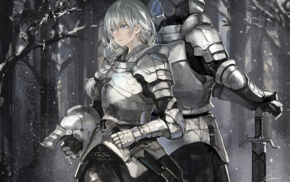 helmet, armor, snow, sword, forest