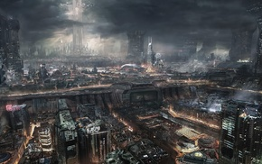 city, steampunk, fantasy art