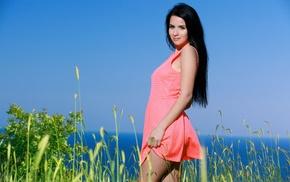 girl outdoors, dark hair, Lola Marron, girl, dress