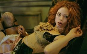 redhead, lingerie, long hair, black bras, girl, actress