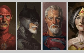 The Flash, Wonder Woman, old, artwork, superhero, old people
