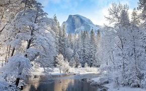 winter, river, nature, landscape, mountain