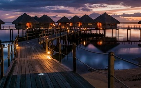 reflection, sea, sunset, lights, resort, tropical
