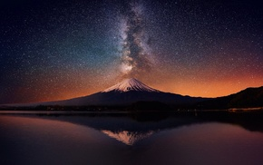 landscape, starry night, long exposure, Milky Way, poop, Mount Fuji