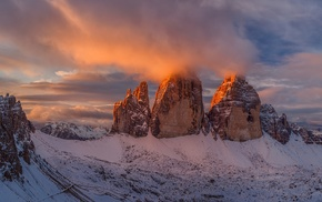 mountain, sunset, snow, nature, clouds, landscape