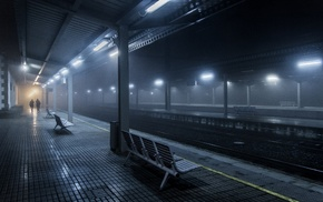lights, urban, Spain, train station, night, mist