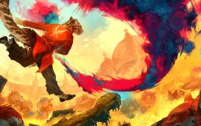 comic art, furry, colorful, warm colors