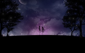 moon, stars, space, trees, couple