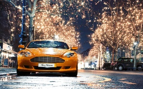 Aston Martin, street light, rain, street, reflection, water drops
