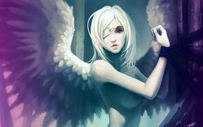 eye patch, angel, anime, anime girls, wings