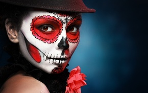 Sugar Skull, Halloween, hat, makeup
