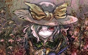 ribbon, texture, hat, Touhou, smiling, Komeiji Koishi